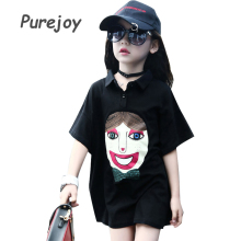 Children Dresses For Girls Polo Shirts Cotton Cartoon Girls Dresses Summer Kids Tops 4 6 8 10 12 Years Turn-Down Collar T-Shirts