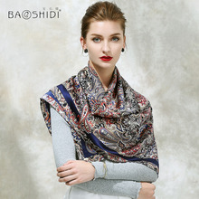 [BAOSHIDI]2017 Autumn New Arrival, 16m/m 100% silk satin scarf, 106*106 Square Scarves women,Paisley Pattern Design scarf shawl