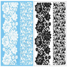2Pcs/Lot Body Art Painting White Black Lace Tattoo Stickers Flash Large Temporary Tattoos for women Rose flower Designs