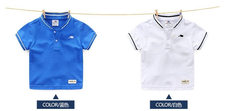 Boys Clothes 2018 Hot Summer Novelty Cotton Cartoon Elephant Print Short Sleeve Mandarin Collar T Shirt Kids Boys (3)