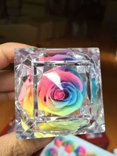Free shipping,new arrival, rainbow rose, 5-year warranty flowers bloom eternal. rose ring box Valentine's Day gift