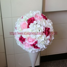 30cm 10pcs/lot Artificial silk Rose Hydrangea wedding decoration kissing ball Table centerpiece flower ball TONGFENG(China)