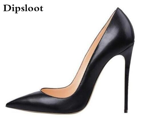 Brand Shoes Woman High Heels Women Shoes Pumps Stilettos Shoes For Women Black High Heels 12CM PU Leather Wedding Shoes D048<br>