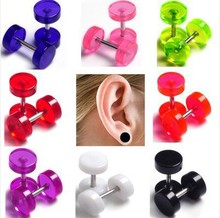 16Pcs/lot Acrylic Barbal Ear Plugs Tunnel Transparent Ear Expander Stretchers Ear Tragus Piercing Kit Body Jewlery 8mm fake plug