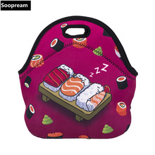 free shipping Japanese sushi bolsa termica lancheira neoprene bread lunch bag coffee thermal bag lunch boxes women snacks tote(China)