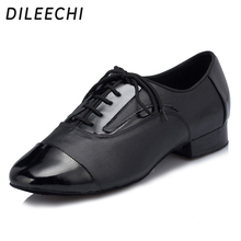 DILEECHI Adult Black Genuine leather Modern Latin dance shoes soft outsole Men's Ballroom dancing shoes Party Square dance shoes(China)