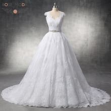 Luxury Cap Sleeve Ball Gown French Lace Wedding Dress With Removable Crystal Belt Rose Moda Real Photo(China)