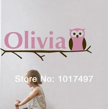 free shipping baby Girl Name Owl Wall Decal Sticker ,Personalized name kids girl owl vinyl wall stickers ,c2000
