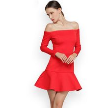 XS-XL 2017 new nice fashion slash neck long-sleeve off shoulder design red color plus size ruffles fishtail dress 6496