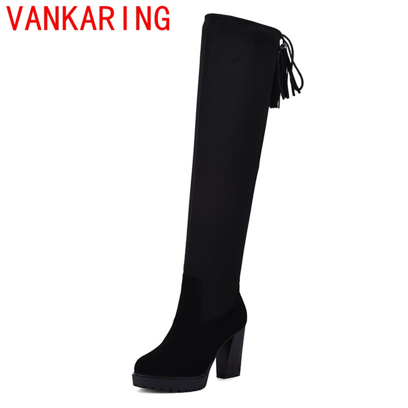 VANKARING shoes 2017 elegant women fashion winter warm knee high boots casual lady round toe riding equestrian popular riband<br><br>Aliexpress