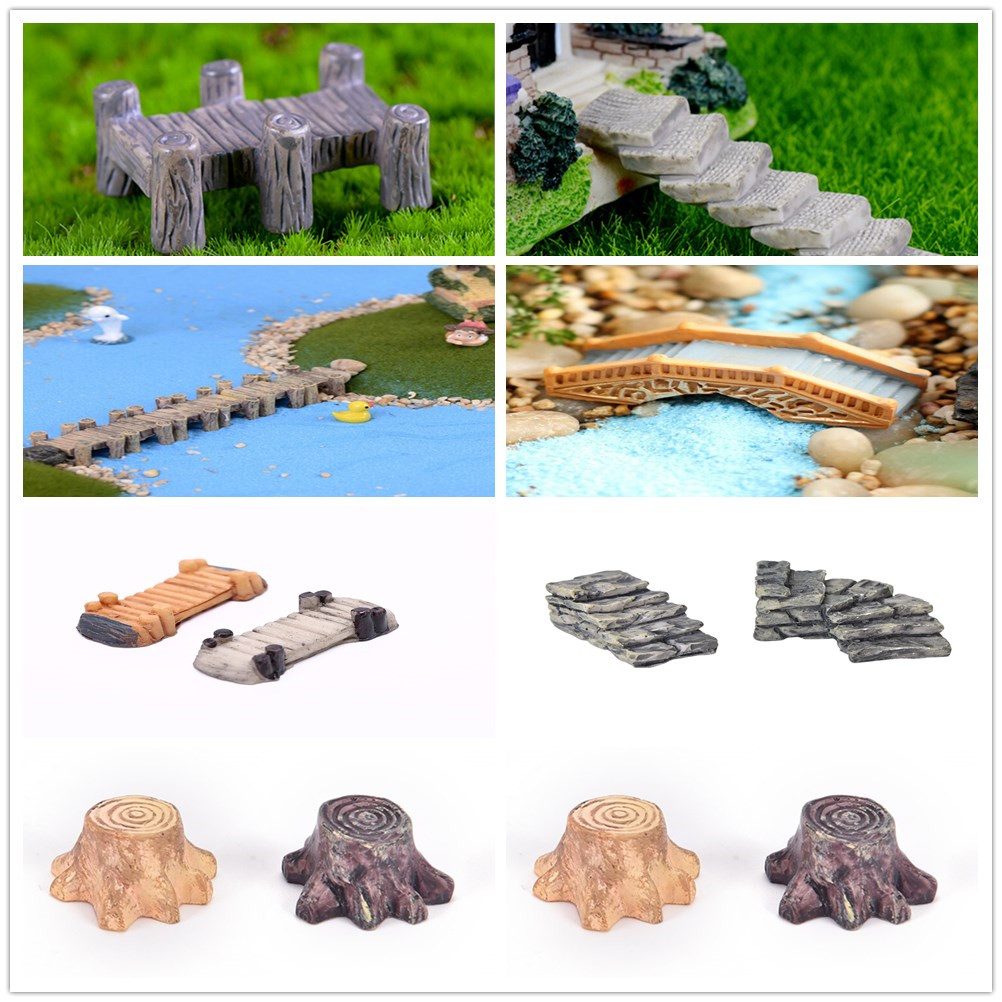 1pcs Tree Stump Bridge Model Mini Resin Garden Micro Landscape Decor New Fashion