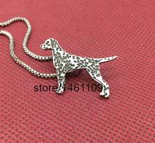 New design Dalmatian Pendants Necklaces Silver heart Standing cute pets Spotted dogs charms metal animals Women fashion Jewelry