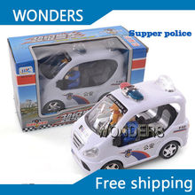 High Quality Glowing Flashing Musical Electric supper police truck Automatic Steering Children Toys Birthday Chirstmas Gift