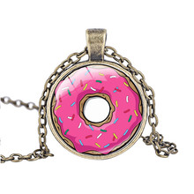 5pcs Pink European Doughnut Pendant Necklace, Cartoon Sweet Cookies Stainless Steel Chain Necklace for Children/Baby/Kids