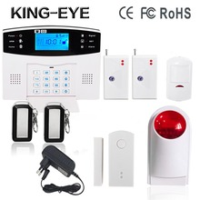 433MHz LCD display gsm home security alarm system wireless outdoor strobe siren PIR motion door sensor with rechargeable battery