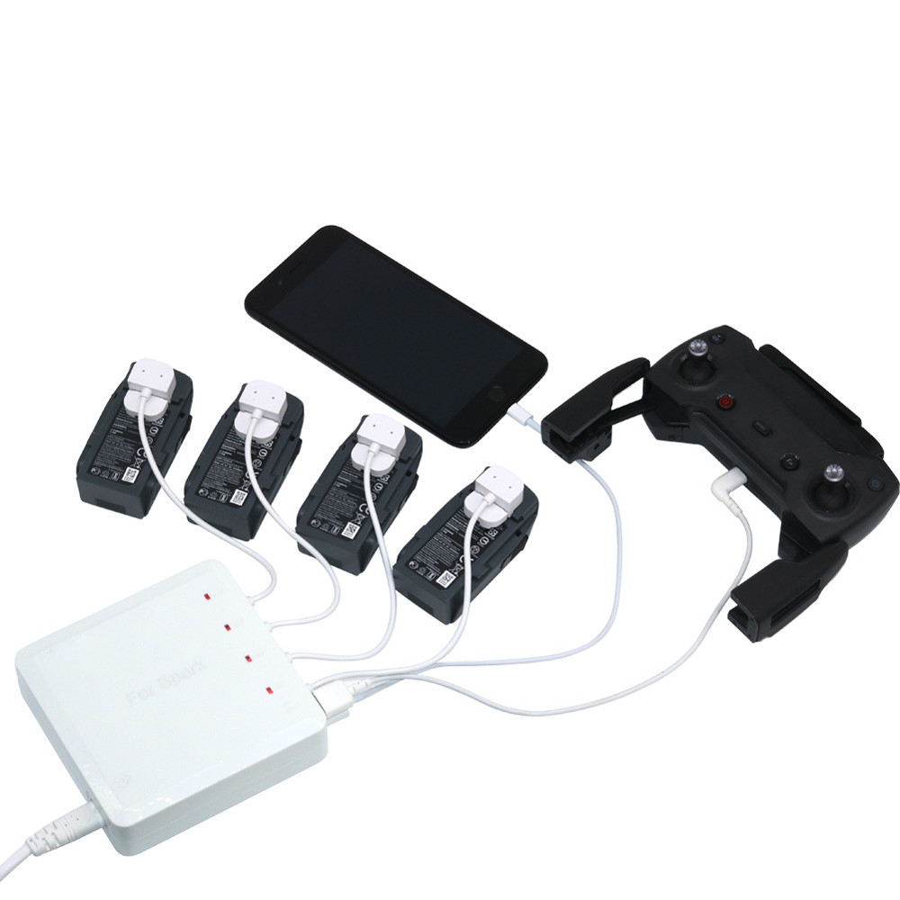 6 In 1 Spark Battery Remote Charger Hub Parallel Dual USB For DJI Spark Drone Futural Digital JULL18