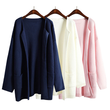 2017 Autumn And Winter Women Sweater Jacket Solid Color No Button Female Loose Long Sweaters Navy Blue Pink Knitted Cardigan(China)