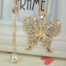 Buy X Butterfly Sweater Bead Necklace Jewelry Crystal Women Long Necklace Pendants Rhinestone Chain Christmas Valentine's Gift for $2.19 in AliExpress store