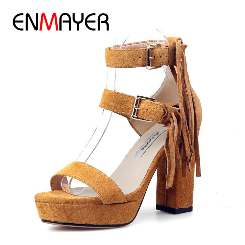 ENMAYER 2018 New Womens Sandals Cow Suede High Heels Squre Heel Fringe Pumps Shoes Lady Girl Sexy Fashion Casual Sandals Shoes<br>