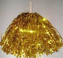 "cheerleading rooter Poms 10"" cheerleader pom poms gold color stick handle 10pcs (5pairs) custom color(China)"