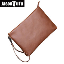 JASON TUTU Brand Men Bag Clutches IPAD purse Man Hand bag Crazy horse PU leather clutch Free shipping 15-25 days to Moscow B507