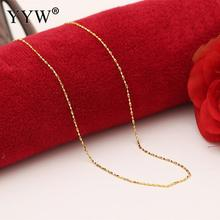 Elegant 24k Gold-Color Necklace Chain For Women Bar Chain Gold Filled Chain Necklace Jewelry Party Daily Wear Jewelry Gift