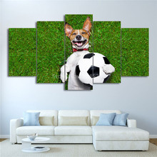 Large Poster HD Printed Canvas Print 5 Panel Football Painting Dog Playing Pictures Gym Home Decor Wall Art For Living Room(China)