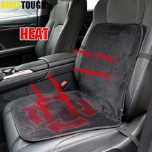 12V Electric Heated Car Van Faux Fur Front Seat Thermal Padded Cushion Cover Soft Wool Winter Seat Mat Heater Hot Cushion Warmer(China)