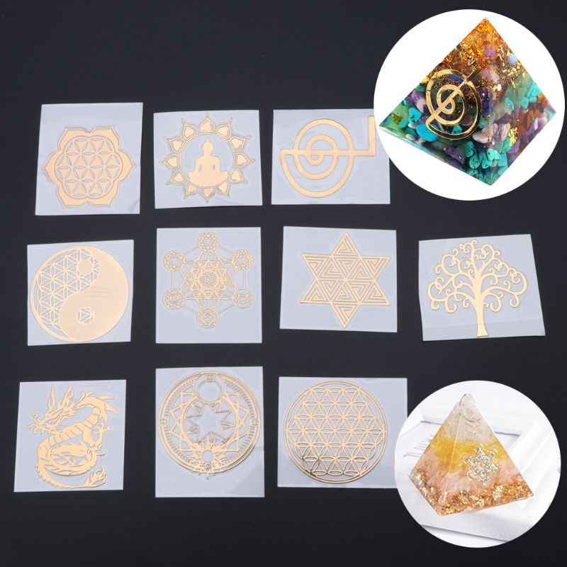 DIY Sticker Geometry Flower of Life Energy Tower Material Deco for Laptop Crafts