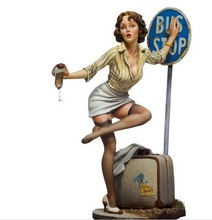 Poker Girl Bus Stop 80mm 1/22 Resin Model Kit Free Shipping(China)