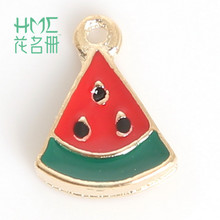Hot Sale Watermelon Enamel Metal Alloy Fruit Charm Pendant,for DIY Earring Bracelet Necklace Jewelry Findings Craft Making