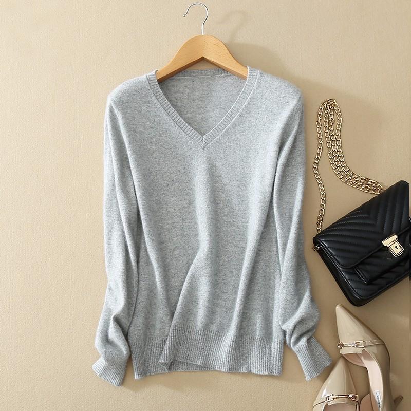 Cashmere Sweater V Neck Women Fashion Autumn Pullovers Knit Cashmere Sweater Women Slim Knit Coat Female Blouse Winter Knitwear 14
