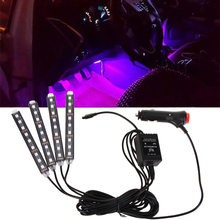 Car RGB LED Strip Light 7 Colors Atmosphere Lamps 24 Keys Wireless IR Control Car Interior Light With Remote Car Styling Decora