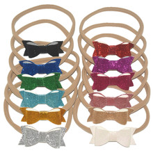 Branded 50pcs/lot Kids Hairband Glitter Synthetic Leather Bow with Nylon Headband Photography Props FD243