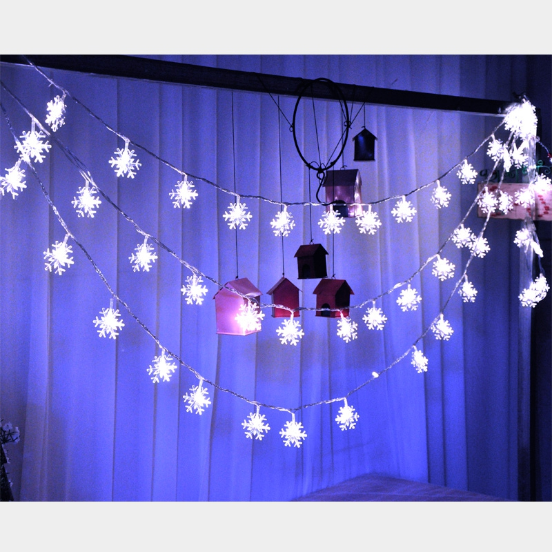 10M 100Leds 2V Christmas Tree Snow Flakes Led String Fairy Light Xmas Party Home Wedding Garden Garland Christmas Decorations 12
