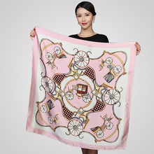 90*90cm satin square silk scarf flower floral print Vintage Charmeuse quare scarf  Women Genuine Natural Silk Scarf Shawl