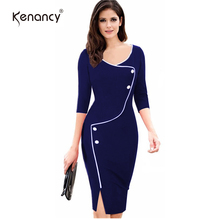 Kenancy 3XL Plus Size Elegant Patchwork Office Dress Women Vintage Split Bottom 3/4 Sleeve Deep O-Neck Bodycon Work Pencil Dress(China)