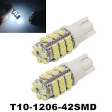 2PCS/Lot T10 W5W 501 194 168 White 42 SMD 3020 LED Car External Lights Side Wedge Signal Bulb Lamp parking Car-Styling(China)