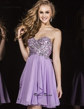 Stylish Lavender Cocktail Dresses Strapless A-line Chiffon Party Gown Mini Vestidos de Festa Curto Birthday Party Dress