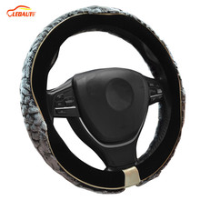 "LEDAUT Auto Steering Wheel Cover Premium Wool Plush Gray And Velvet Black 38cm/15"" Universal Fit For Winter"