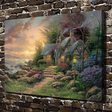 H1196 Thomas Kinkade Seaside Hideaway, HD Canvas Print Home decoration Living Room bedroom Wall pictures Art painting(China)