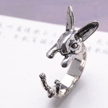H:HYDE Vintage Fashion Bunny Ring Hippie Mid Finger Rabbit Ring Punk Chic Animal Warp Rings For Men Women Jewelry