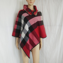 Cashmere Sweater Women Pullover 2016 Autumn Winter New Fashion Oversized Sweater Plaid Knit Cape Cloak Poncho Shawl Pull Femme