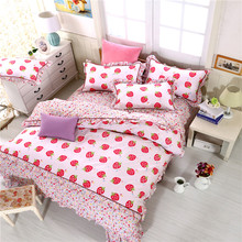 Pink Floral Girls Bedding sets Queen Size Gift Princess Duvet cover Bed Linen 4 pcs 100% Cotton Bed set Wholesal Price