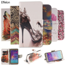 Effelon Colorful Painting Stand Flip Leather Wallet Cover Case For Samsung Galaxy Note 4 5 Note4 Note5 Cell phone Cases Caque(China)