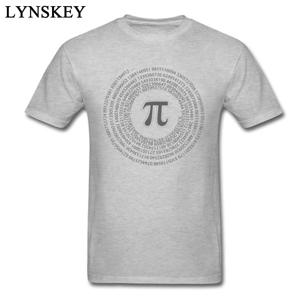 Group Tops T Shirt Funny Round Collar Short Sleeve Pi day vortex mathematical constant 100% Cotton Men T-shirts Casual Summer Tee-Shirt Pi day vortex mathematical constant grey