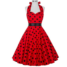 Buy Women Dress Robe Pin Rockabilly Vestidos Summer Dresses Plus Size Sexy Halter Audrey Hepburn Cocktail Party 50s Vintage Dress