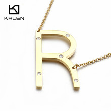 Kalen Rhinestone letter R Necklaces Women Stainless Steel Fashion Gold Color Letter R Pendant 50CM Long Chain Necklace Gifts(China)