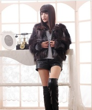 New genuine red fox fur coat with leather women silver fox fur coat winter fur jacket plus size Free shipping