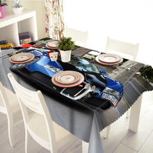 Polyester Tablecloth Europe Super Sports Car 3D Pattern Waterproof Thicken Rectangular Wedding Dinner Table cloth Home Textiles(China)
